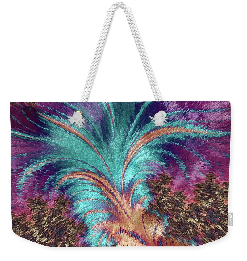 Abstract Weekender Tote Bag featuring the painting Feather Abstract by MS Fineart Creations