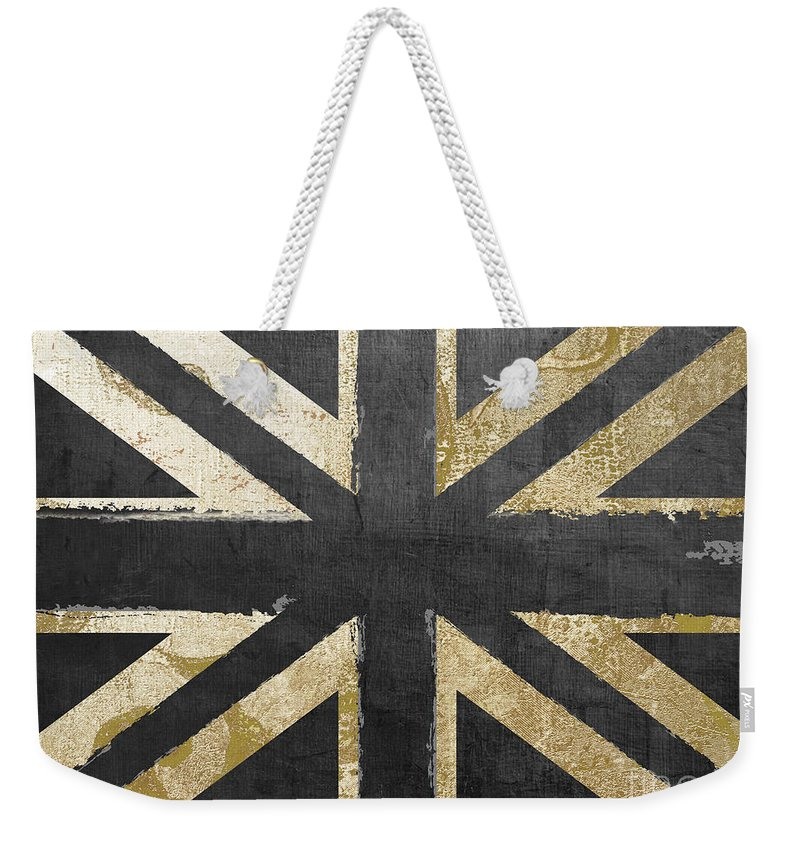Britain Weekender Tote Bag featuring the painting Fashion Flag United Kingdom by Mindy Sommers