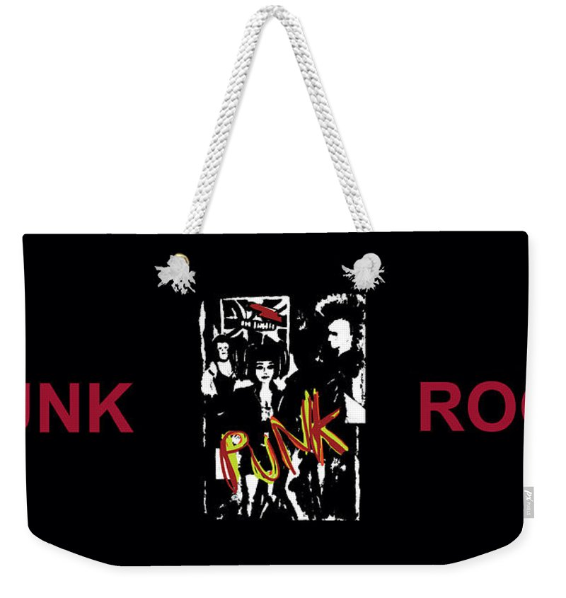 Fashion Weekender Tote Bag featuring the painting Punk Rock Alternative Style Design by Tom Conway