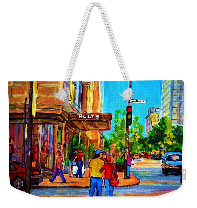 Holt Renfrew Weekender Tote Bag featuring the painting Fashionable Holt Renfrew by Carole Spandau