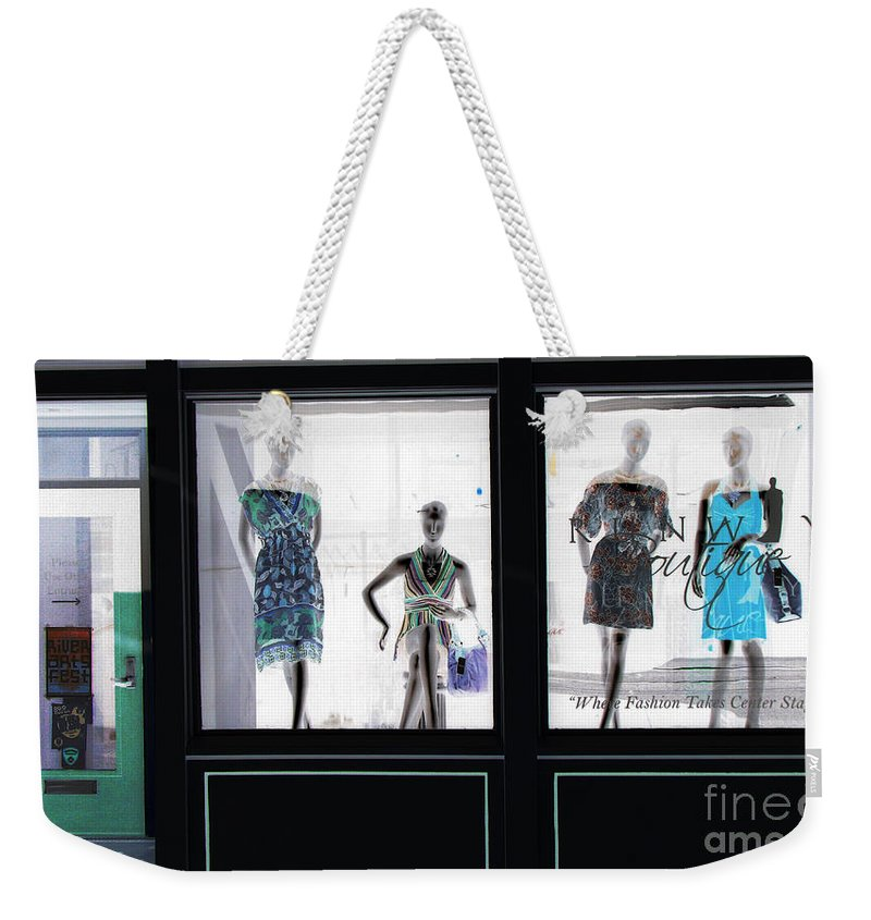 Store Front Weekender Tote Bag featuring the photograph Fashionistas by Amanda Barcon