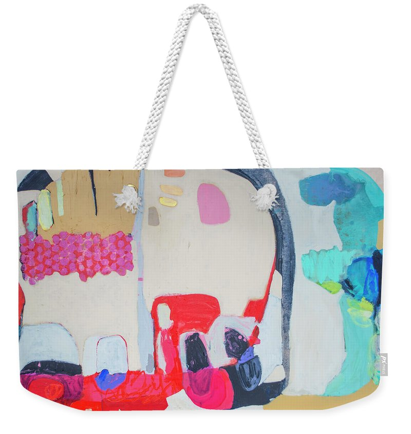 Abstract Weekender Tote Bag featuring the painting Fast Friends by Claire Desjardins
