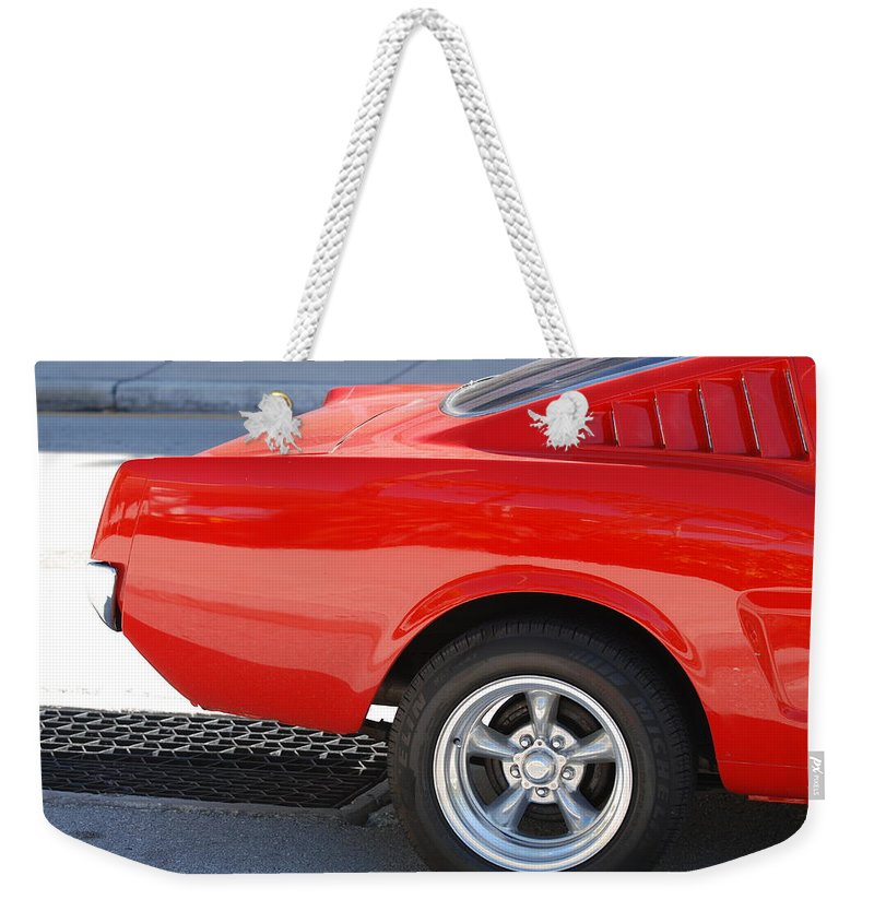 Ford Weekender Tote Bag featuring the photograph Fastback Mustang by Rob Hans