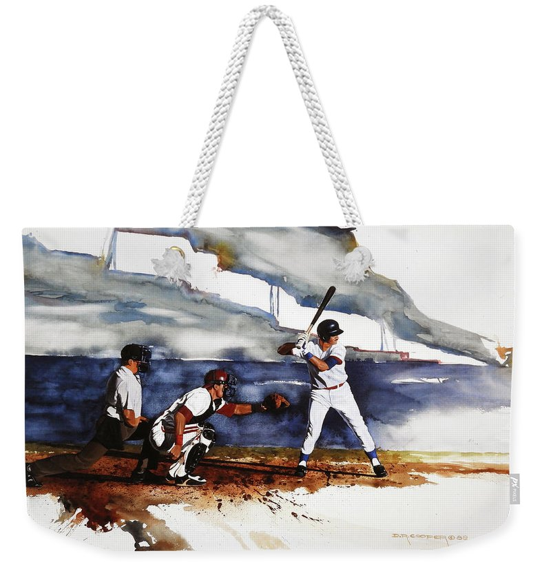 Baseball Weekender Tote Bag featuring the painting Fastball by Dale Cooper