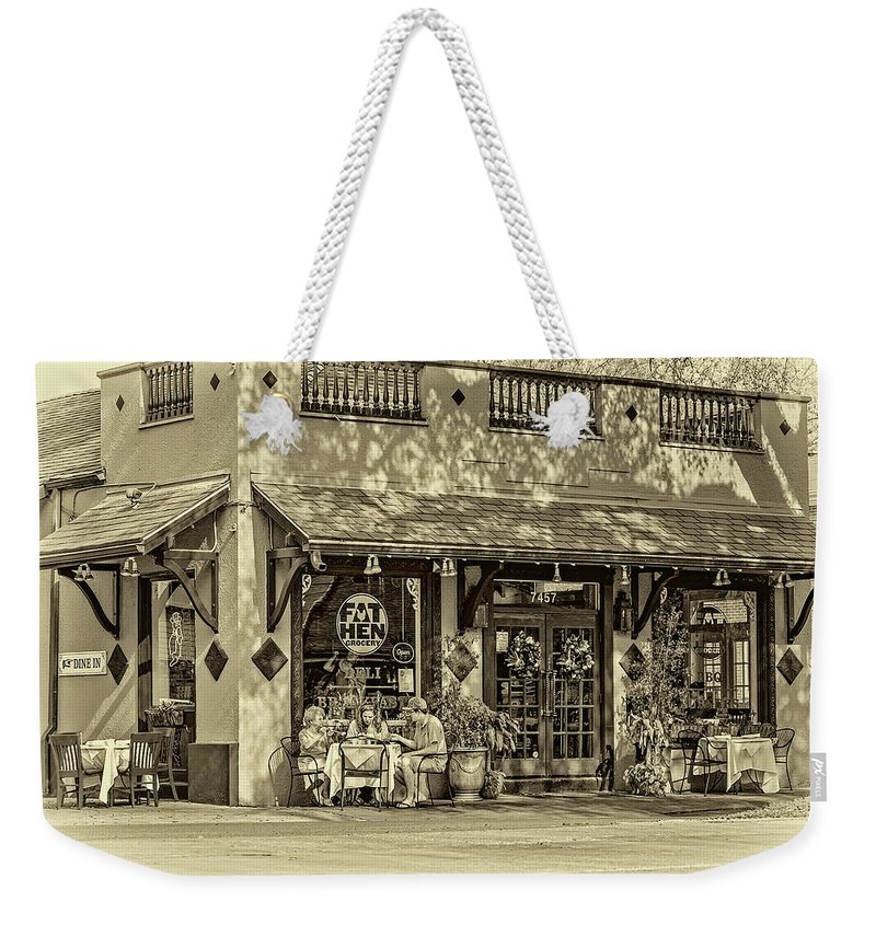 New Orleans Weekender Tote Bag featuring the photograph Fat Hen Grocery Sepia by Steve Harrington