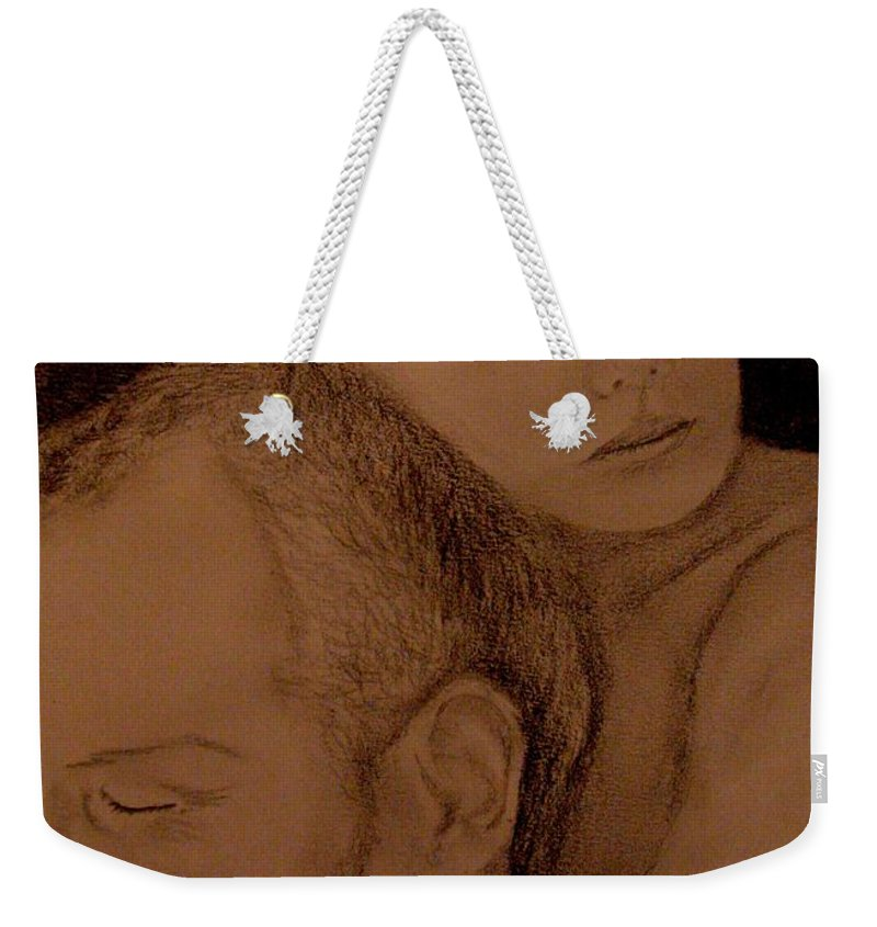 Portrait Weekender Tote Bag featuring the painting Father And Son by Glory Fraulein Wolfe