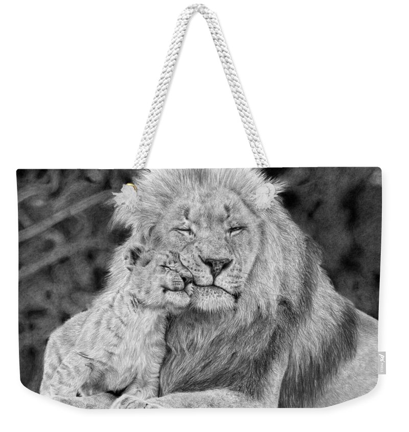 Lion Weekender Tote Bag featuring the drawing Father And Son by Katie Harris