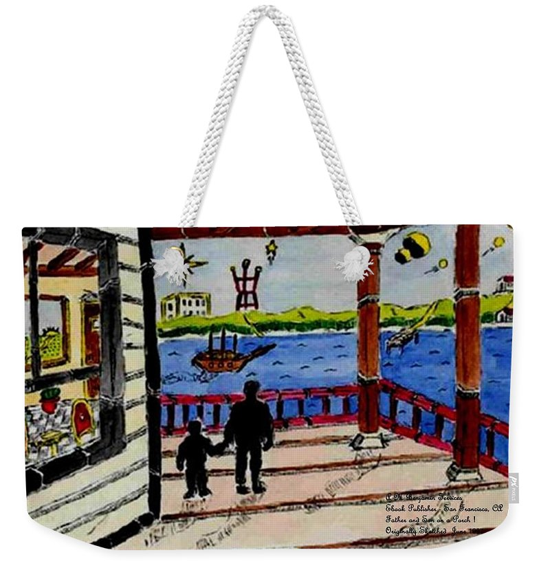Boy Weekender Tote Bag featuring the painting Father And Son On The Porch by Anthony Benjamin