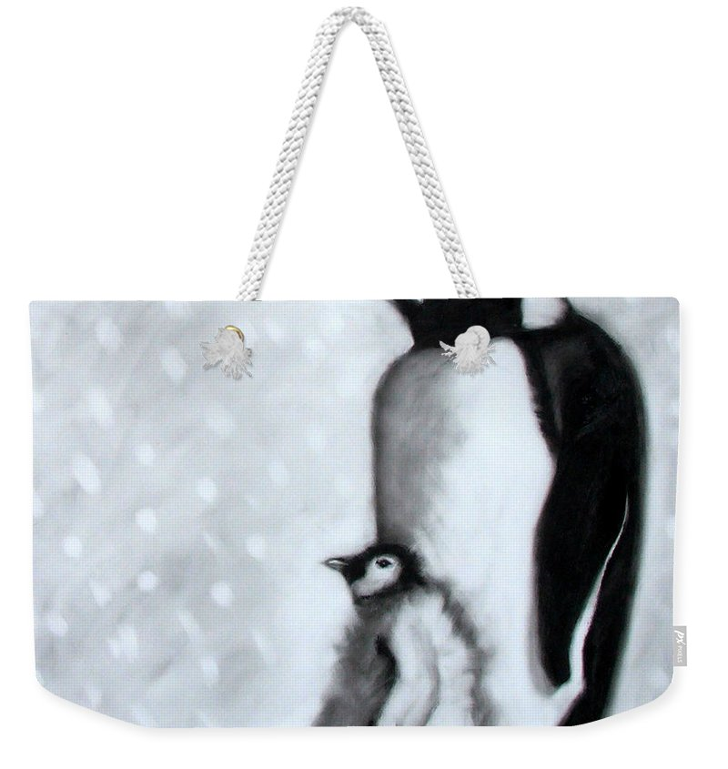Penguin Weekender Tote Bag featuring the painting Father And Son by Paul Powis
