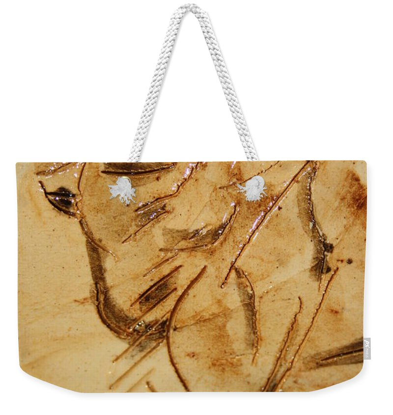 Gloria Ssali Weekender Tote Bag featuring the ceramic art Fathers Joy Tile by Gloria Ssali