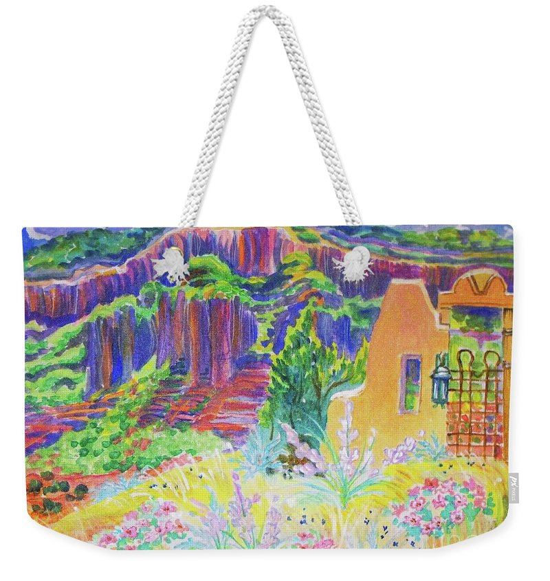 Faux Gate Detail Made And Interesting Painting In This Desert Setting Weekender Tote Bag featuring the painting Faux Gate in Gateway Colorado by Annie Gibbons