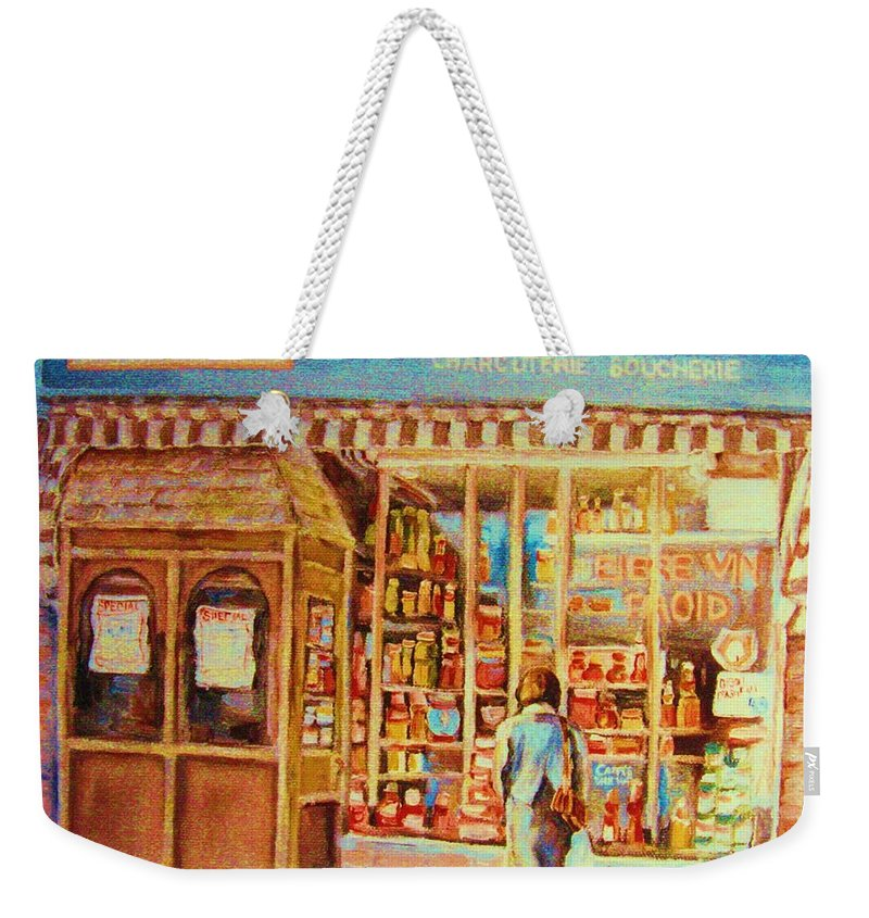 Markets Weekender Tote Bag featuring the painting Favorite Viande Market by Carole Spandau