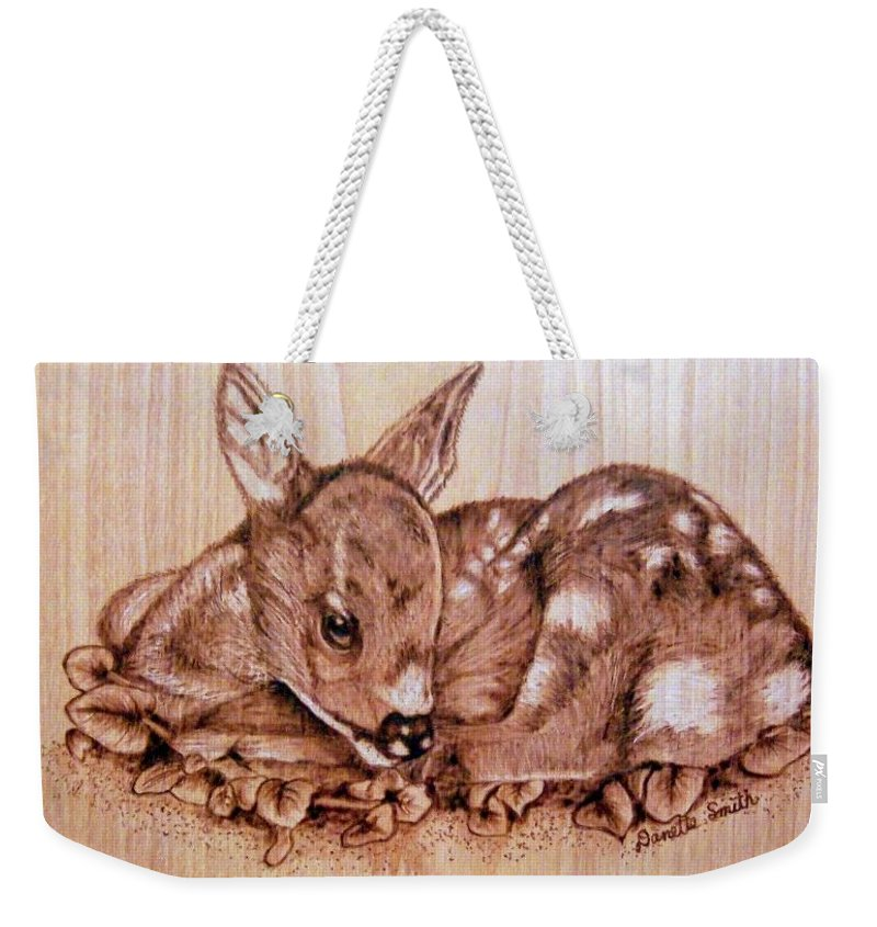 Pyrography Weekender Tote Bag featuring the pyrography Fawn by Danette Smith