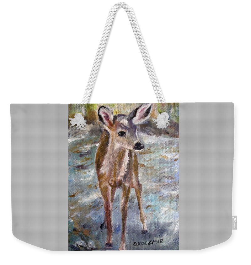 Fawn Weekender Tote Bag featuring the painting Fawn by Olga Kaczmar