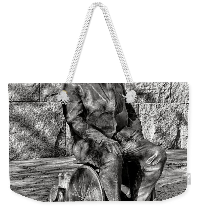 Fdr Weekender Tote Bag featuring the photograph Fdr Memorial Sculpture In Wheelchair by Olivier Le Queinec
