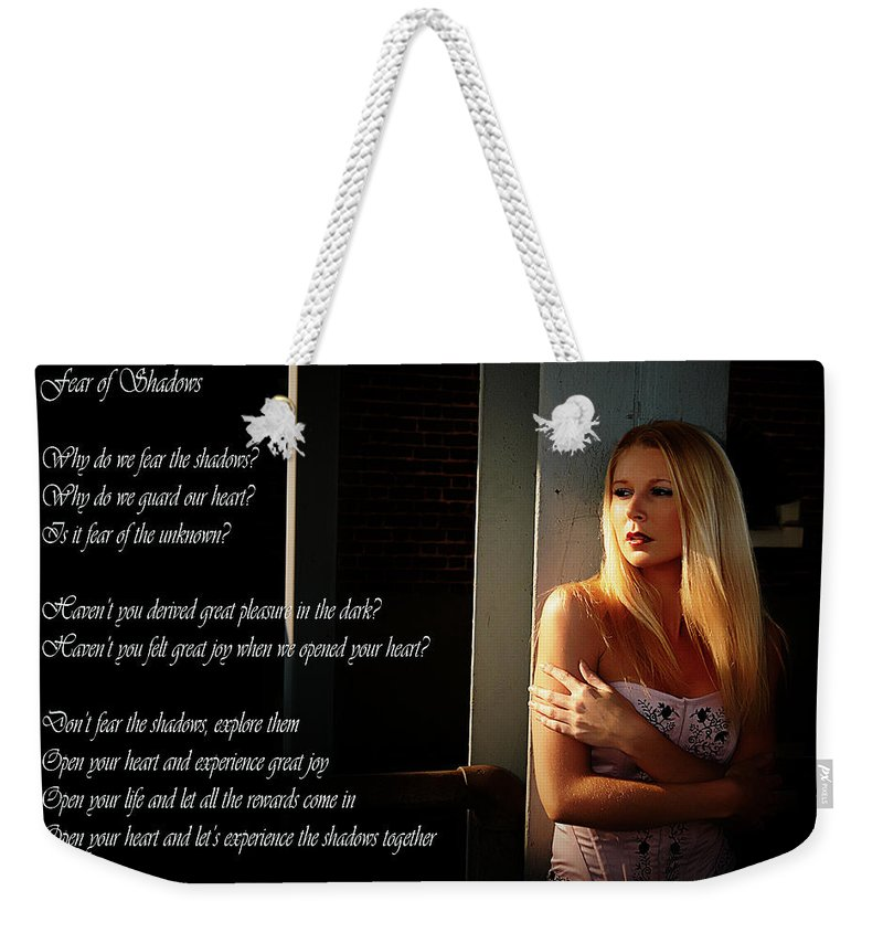 Clay Weekender Tote Bag featuring the photograph Fear Of Shadows by Clayton Bruster