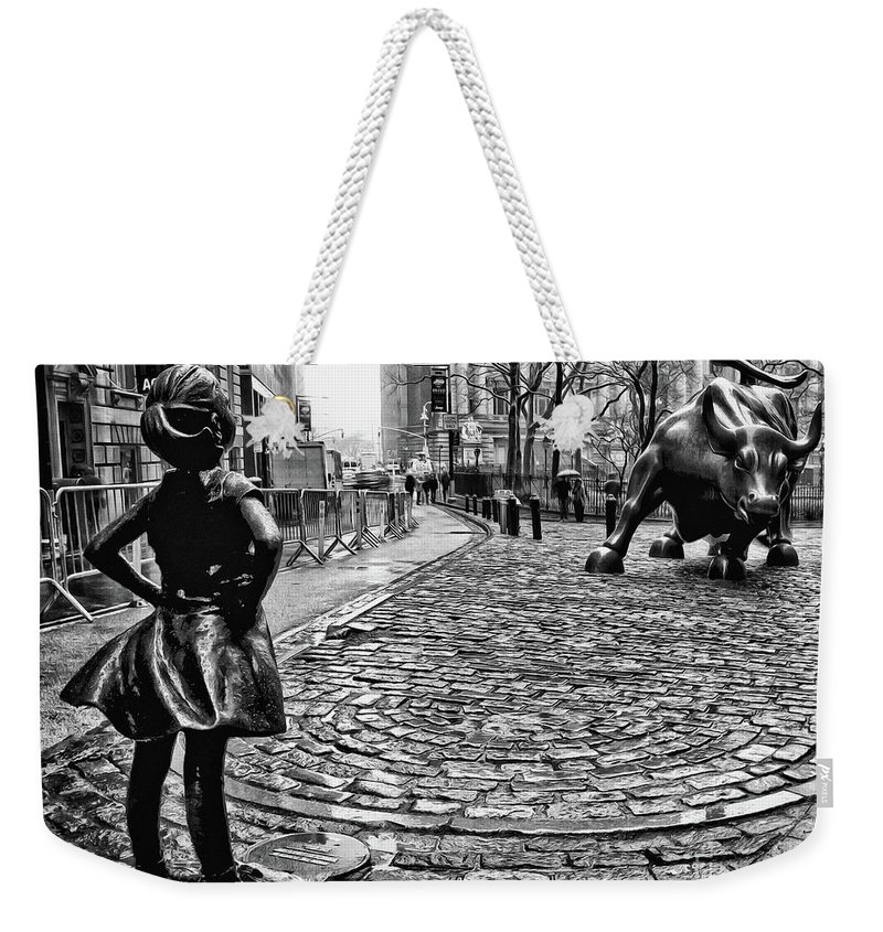 Fearless Girl Statue Weekender Tote Bag featuring the photograph Fearless Girl And Wall Street Bull Statues 3 Bw by Nishanth Gopinathan