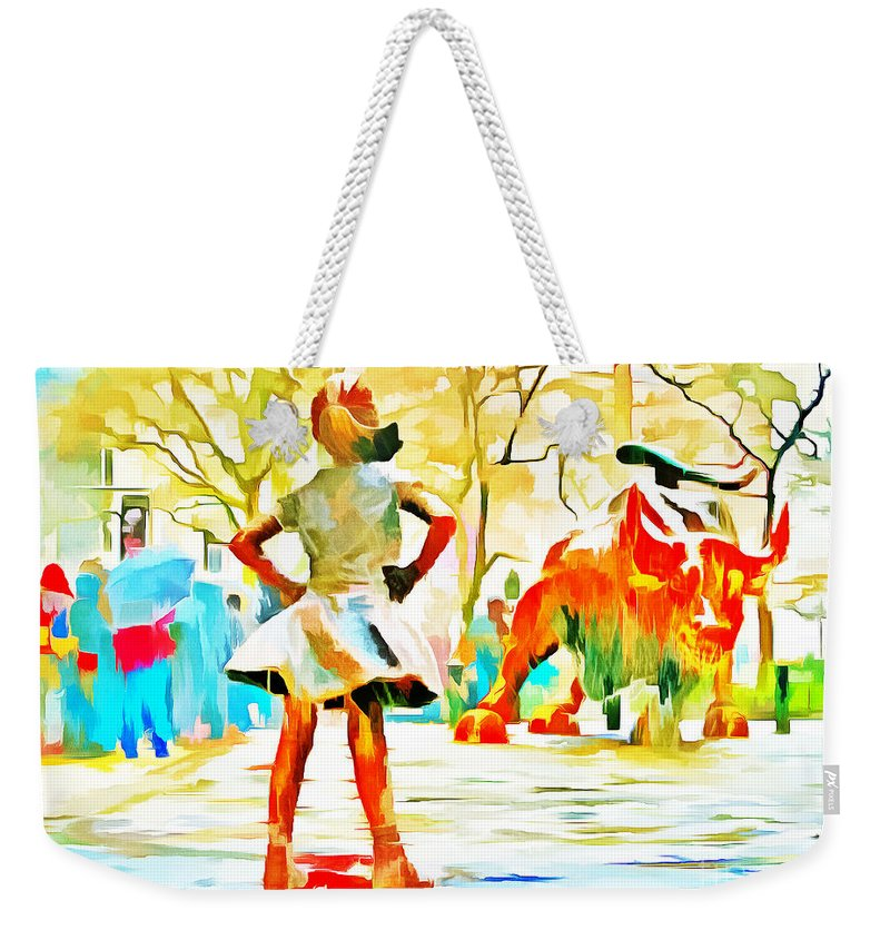 Fearless Girl Statue Weekender Tote Bag featuring the photograph Fearless Girl And Wall Street Bull Statues 6 Watercolor by Nishanth Gopinathan
