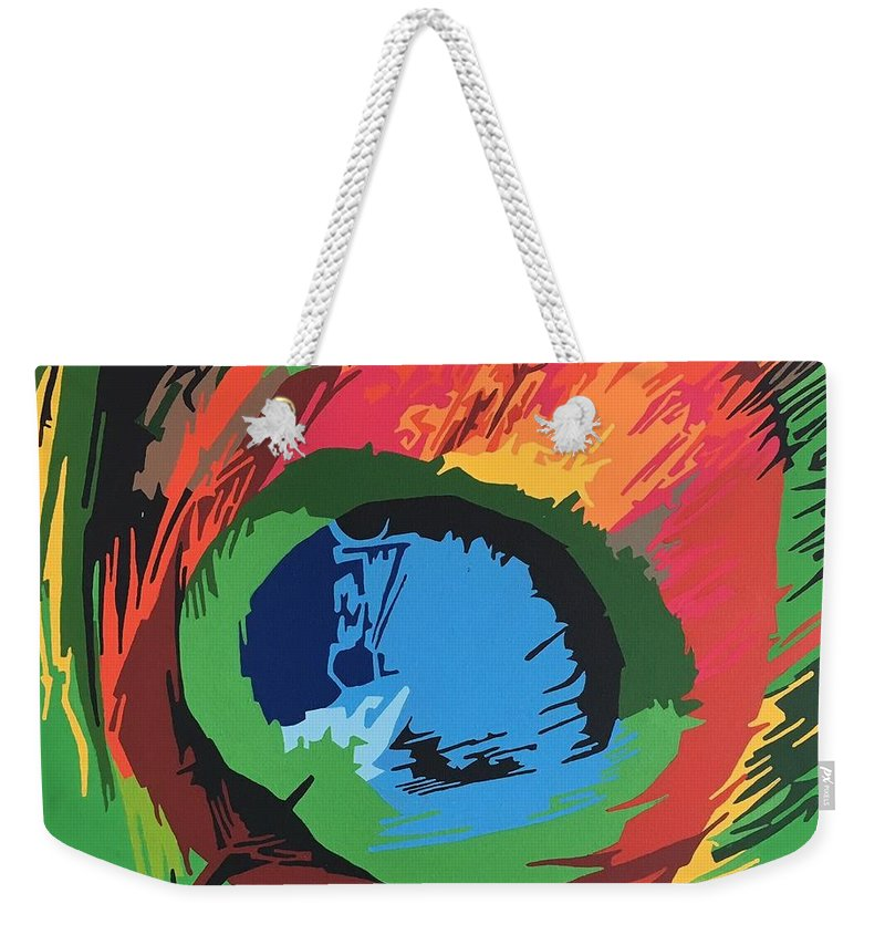 Feather Weekender Tote Bag featuring the painting Feather 01 by Adri Barbieux