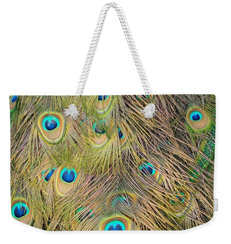 Peacock Weekender Tote Bag featuring the photograph Feather Finesse by Margaret Bobb