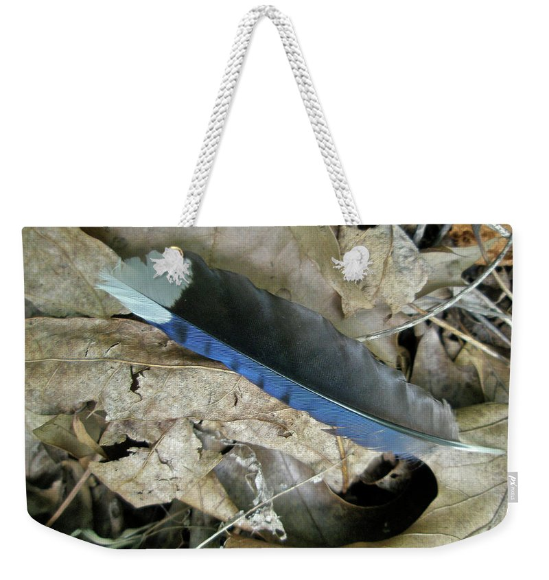 Feather Weekender Tote Bag featuring the photograph Feather On The Forest Floor by Mother Nature