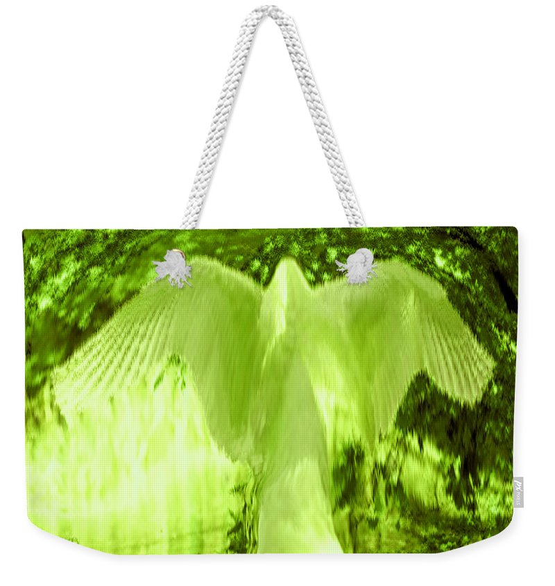 Feathers Of Light Weekender Tote Bag featuring the digital art Feathers Of Light - Green by Artistic Mystic
