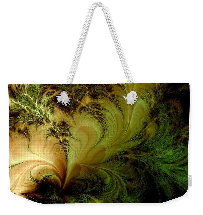 Feather Weekender Tote Bag featuring the digital art Feathery Fantasy by Casey Kotas