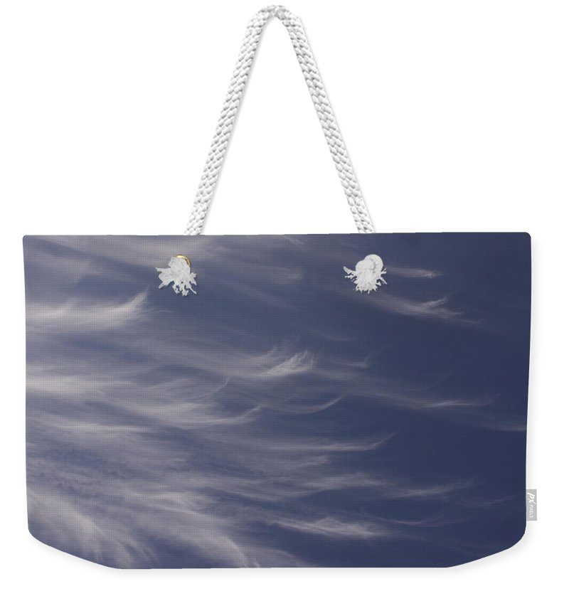 Sky Blue Clouds White Feather Photography Photograph Weekender Tote Bag featuring the photograph Feathery Sky by Shari Jardina