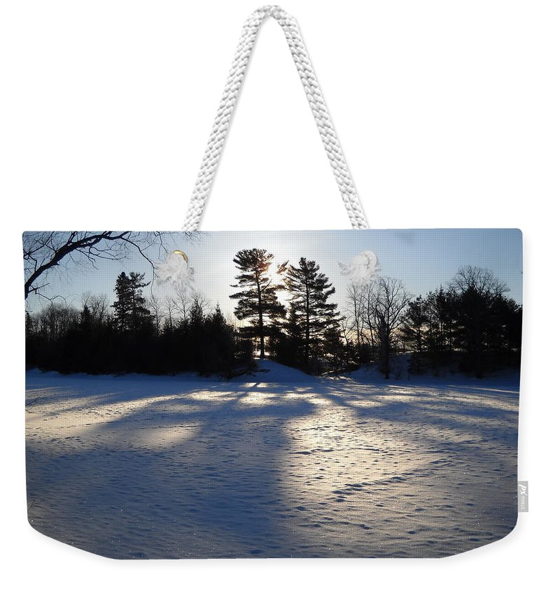 Pine Tree Weekender Tote Bag featuring the photograph February Pine Tree Shadows by Kent Lorentzen