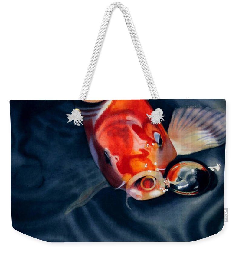 Koi Weekender Tote Bag featuring the painting Feeding Frenzy by Denny Bond