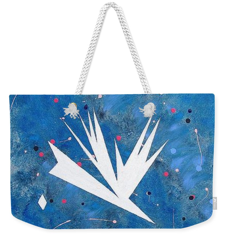 Birds And Diamond Stars Weekender Tote Bag featuring the painting Feeding Frenzy by J R Seymour