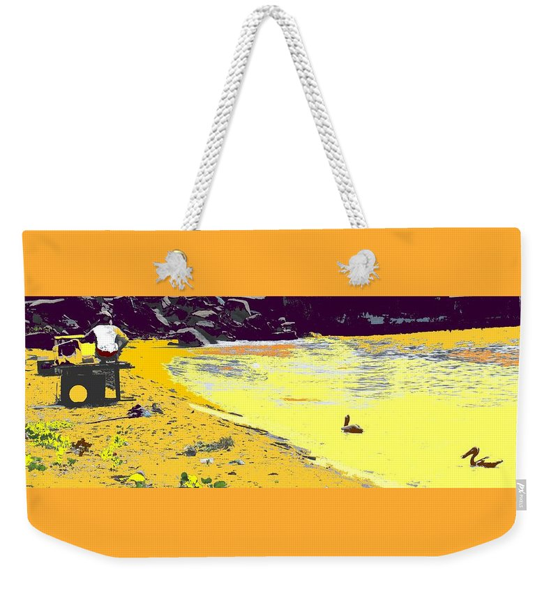 St Kitts Weekender Tote Bag featuring the photograph Feeding The Pelicans by Ian MacDonald