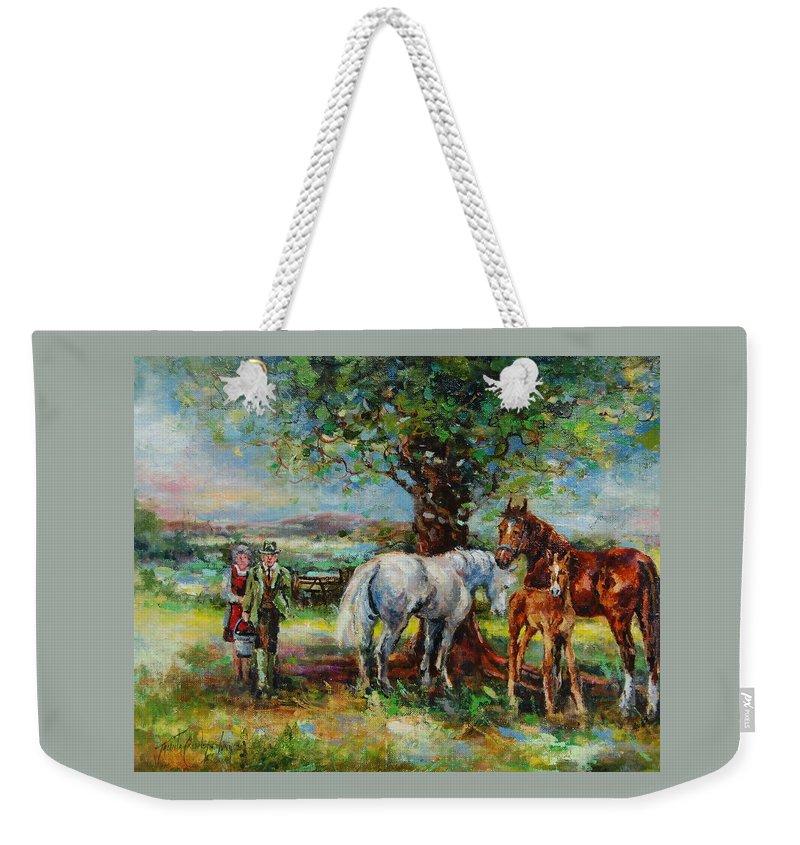 Horses Weekender Tote Bag featuring the painting Feeding Time by Jacinta Crowley-Long