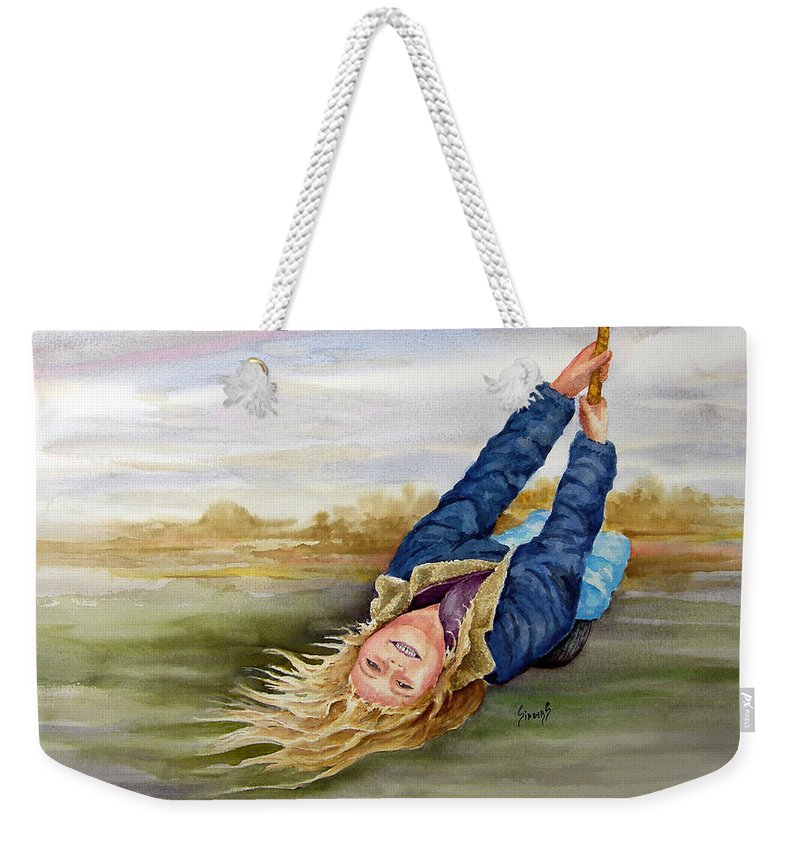 Seing Weekender Tote Bag featuring the painting Feelin The Wind by Sam Sidders