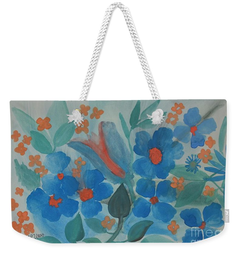 Feeling Blue Weekender Tote Bag featuring the painting Feeling Blue by Maria Urso