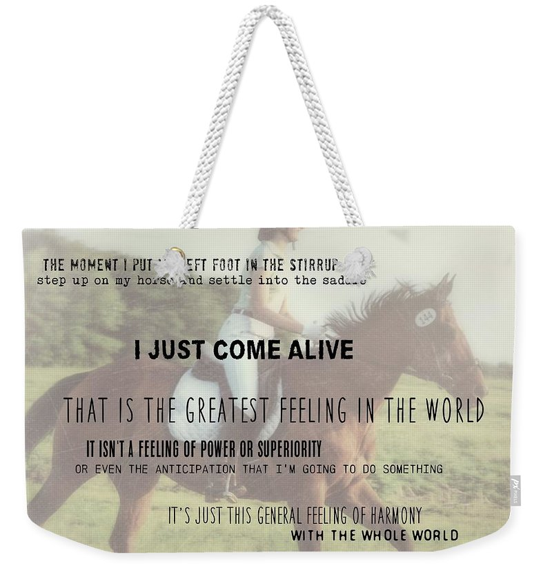 Horse Weekender Tote Bag featuring the photograph Feeling Harmony Quote by JAMART Photography