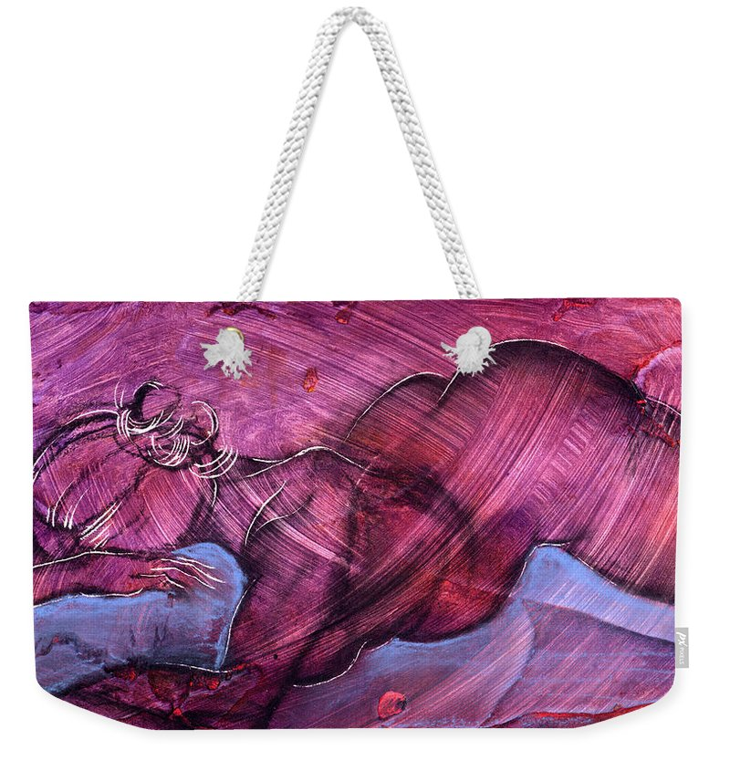 Nude Weekender Tote Bag featuring the painting Feeling Sensuous by Richard Hoedl