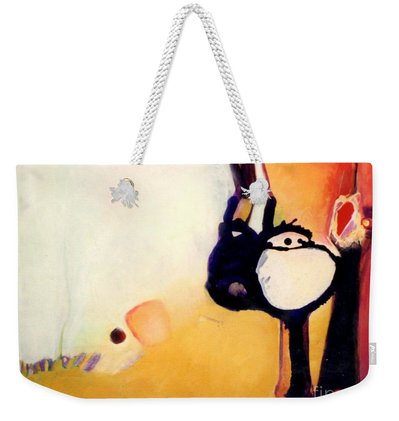 Abstract Weekender Tote Bag featuring the painting Felix A Whole New Ballgame by Marlene Burns