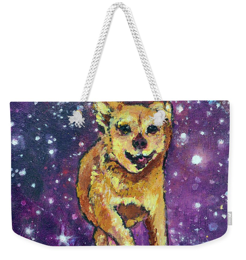 Pet Portraits Weekender Tote Bag featuring the painting Felix Running To See His Friends by Ashleigh Dyan Bayer