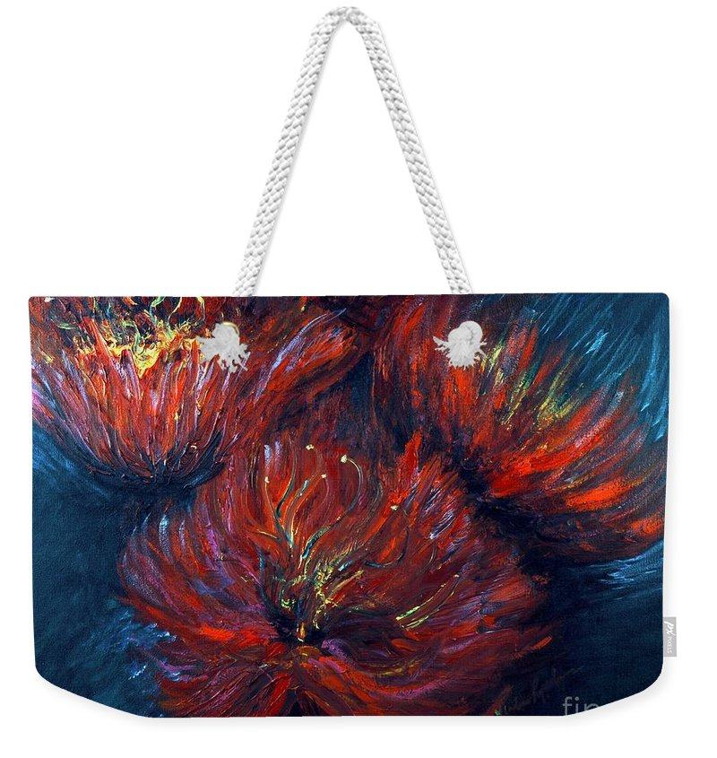 Abstract Weekender Tote Bag featuring the painting Fellowship by Nadine Rippelmeyer