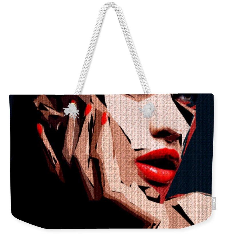 Art Weekender Tote Bag featuring the digital art Female Expressions Liv by Rafael Salazar