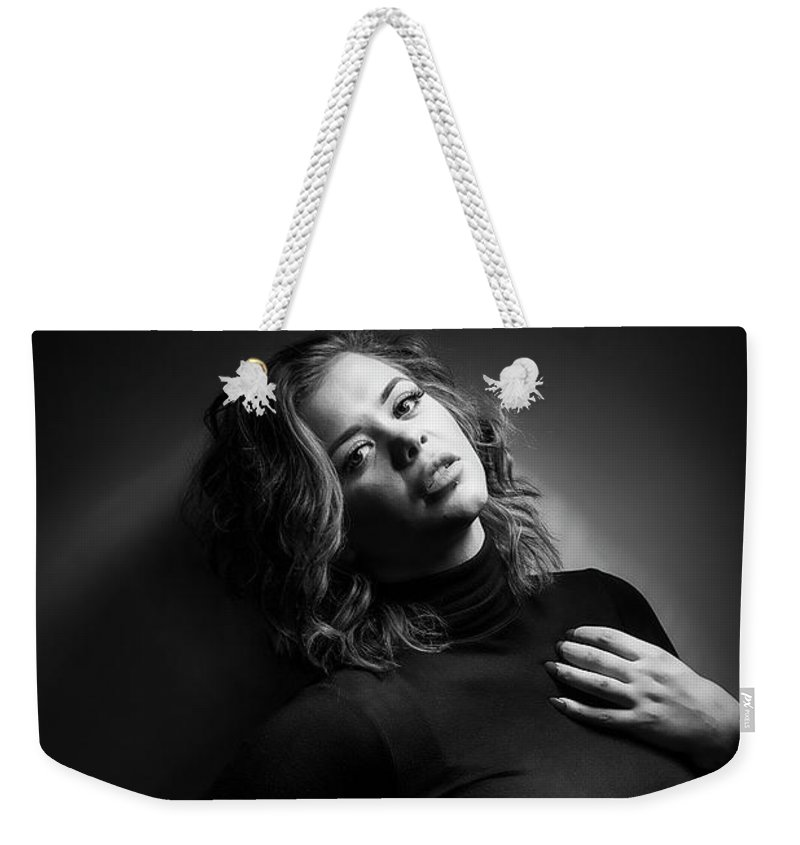 Model Weekender Tote Bag featuring the photograph Female Model by Samuel Whitton