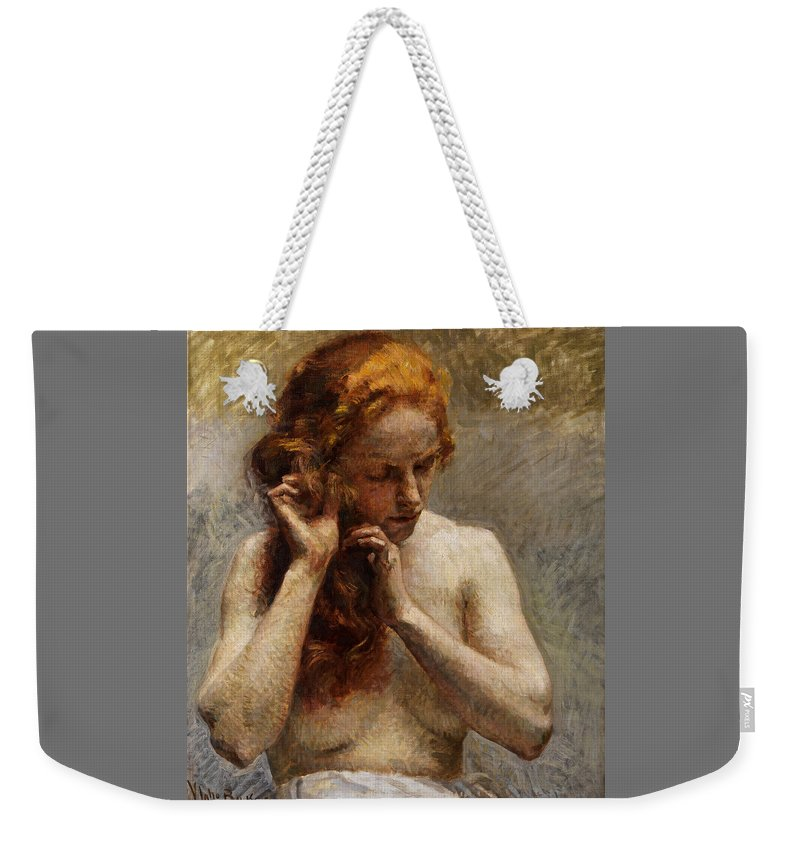 Vlaho Bukovac Weekender Tote Bag featuring the painting Female Nude with Red Hair by Vlaho Bukovac