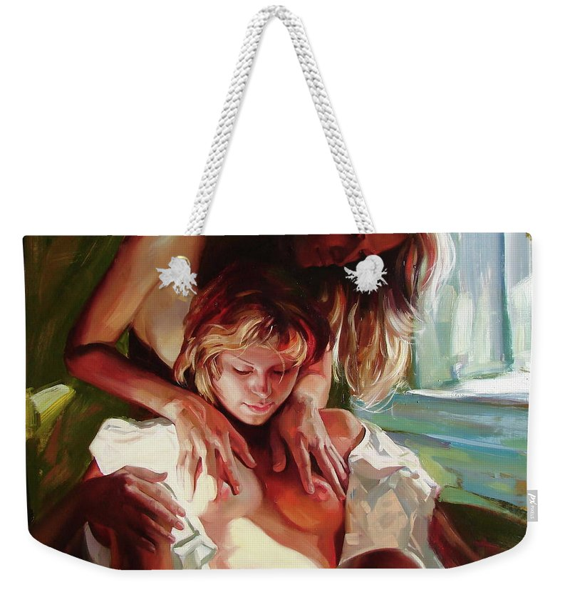 Ignatenko Weekender Tote Bag featuring the painting Female secrets by Sergey Ignatenko