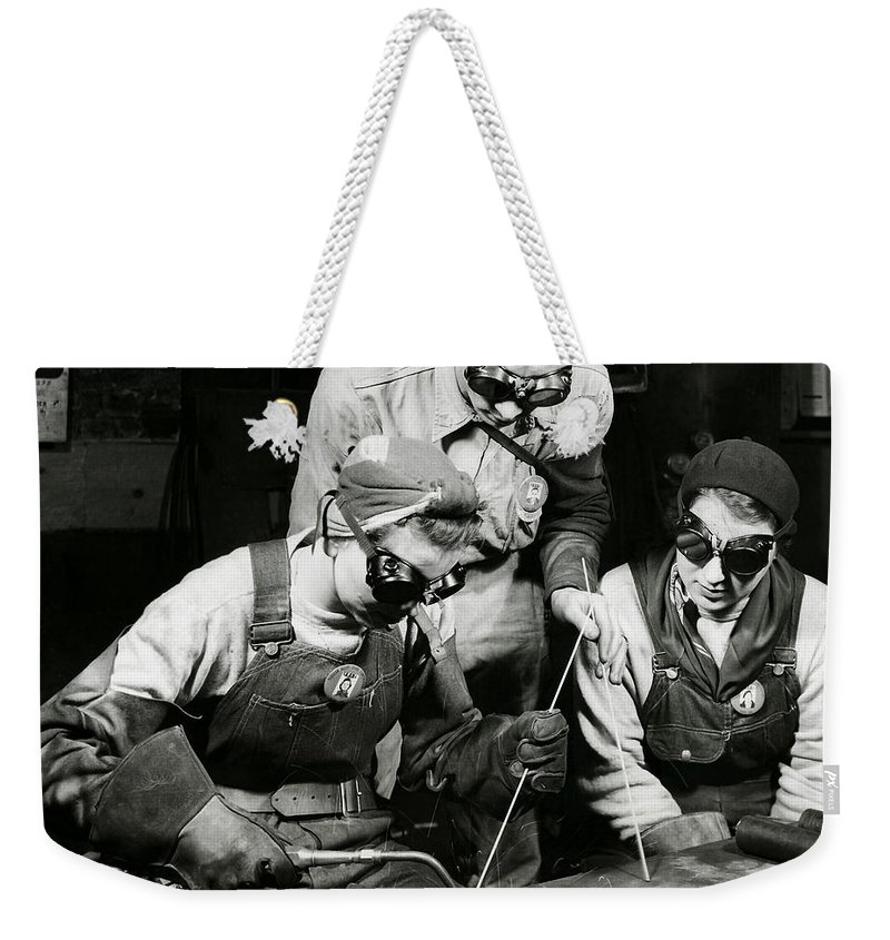Welding Weekender Tote Bag featuring the photograph Female Welders - Ww2 Homefront - 1943 by War Is Hell Store
