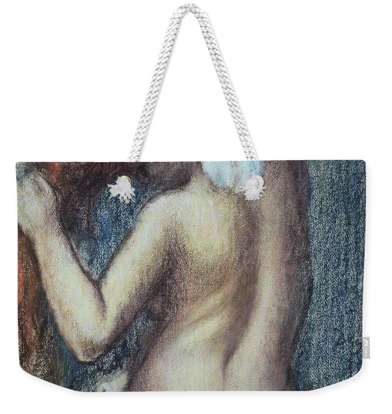Femme A Sa Toilette Weekender Tote Bag featuring the pastel Femme A Sa Toilette by Edgar Degas