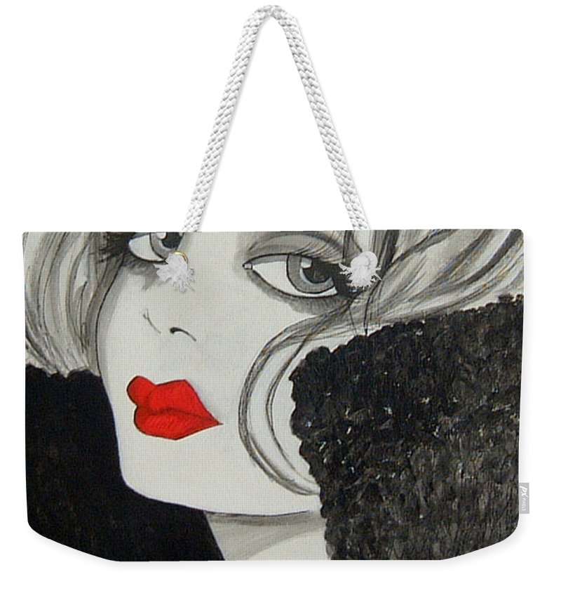 Cinema Weekender Tote Bag featuring the painting Femme Fatale by Rosie Harper