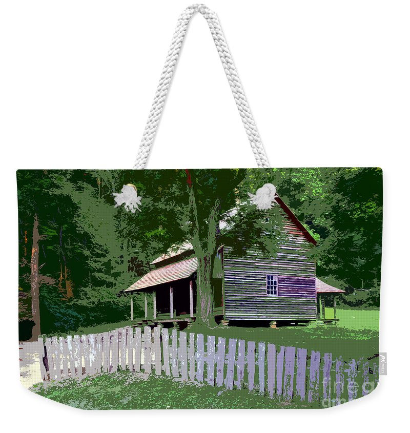 Cabin Weekender Tote Bag featuring the painting Fence And Cabin by David Lee Thompson