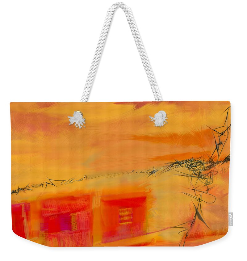 Barbed Wire Weekender Tote Bag featuring the painting Fenced Farmlands-orange by CR Leyland