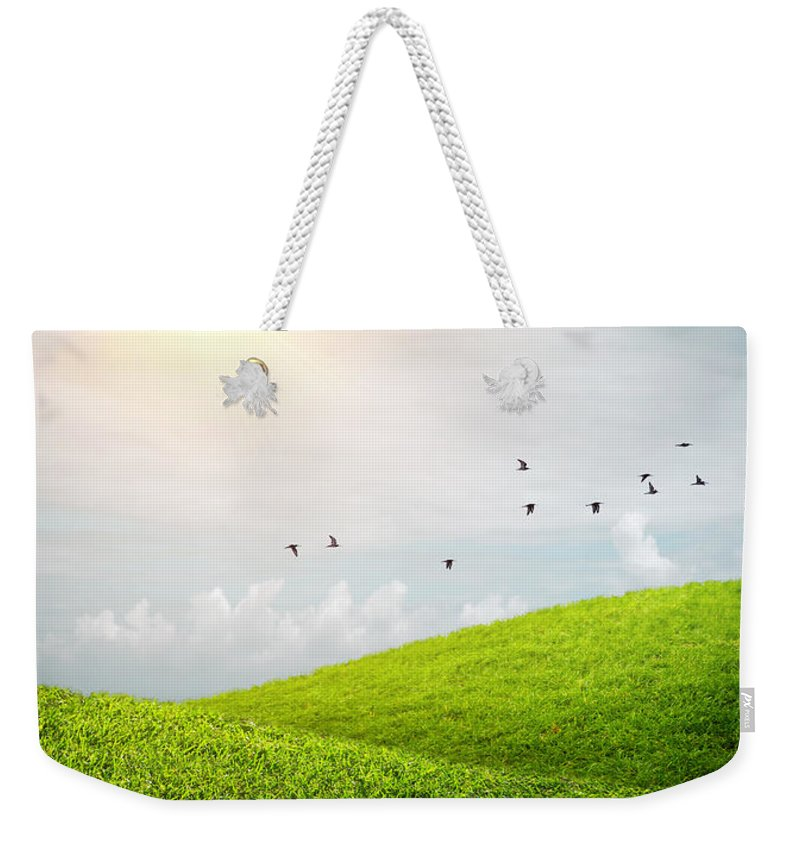 Green Weekender Tote Bag featuring the photograph Fenced Grass Hills by Carlos Caetano